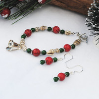 Christmas bracelet; Christmas earrings; beach theme bracelet; shell bracelet; red green jewelry; bell charm bracelet; holiday jewelry set