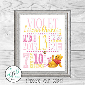 Winnie The Pooh Nursery Decor, Winnie the Pooh Birth Stats, Winnie the Pooh Print, Winnie the Pooh Baby Gift, Baby Christmas Gift, Mom Gift
