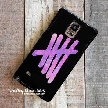 Pink Galaxy 5SOS Logo Samsung Galaxy Note 4 Case Cover for Note 3 Note 2 Case