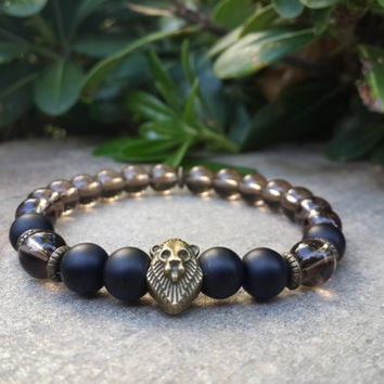 Men's Smoky Quartz Bracelet, Matte Black Onyx Gemstone Bracelet, Antique Gold Lion Charm Spiritual Mala Yoga Bracelet, Reiki Charged