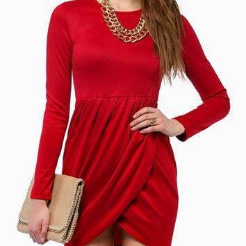 Red Long Sleeve Drape Dress