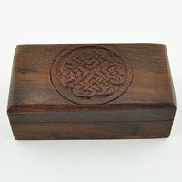 Hand Carved Wooden Celtic Knot Box