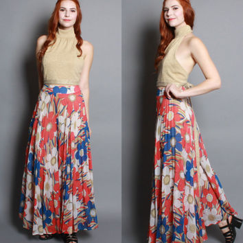 60s Gauze PALAZZO PANTS / Semi Sheer FLORAL Wide Leg Trousers, xs