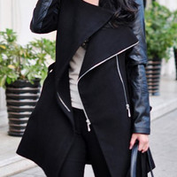 Black Stand-Up Collar Long Sleeve Zippered Coat