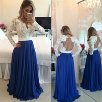 Long Sleeves Lace Pearls Chiffon Prom Dresses V Neck White&Blue Evening Gowns_Buy High Quality Dresses from Dress Factory - Babyonlinedress.com