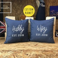 Custom signs Pillow Cover Set, Wedding Gifts, Wedding Signs. Custom Family Name Sign, Personalized Sign, Pillow cover Jean cotton canvas