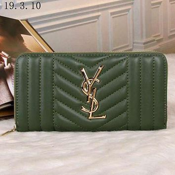 Perfect YSL Yves Saint Laurent Women Fashion Leather Zipper Wallet Purse