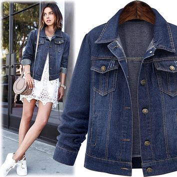 Large size 5XL Autumn Women Denim Jacket Long Sleeve Short Denim Coat For Women Jeans Jacket Plus Size Outwear