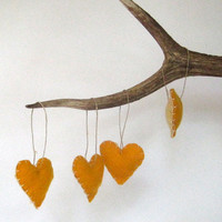 RESERVED felt ornament heart felts SET of 4 mustard by SewnNatural