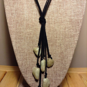 Multi Strand Leather With Light Green Marble Stones Long Leather Necklace