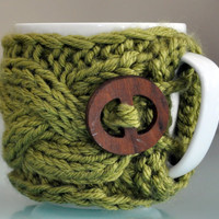 Mug Cozy FREE SHIPPING Coffee Cozy Green Leaf Cup by lucymir