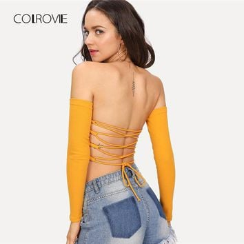 Bardot Lace Up Back Crop Top New Summer Ginger Off the Shoulder Sexy Tops & Tees Women Top Long Sleeve T- Shirt