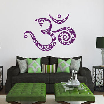 Wall Decals Om Sign Oum Sign Sacred Symbol Mantra Home Vinyl Decal Sticker Kids Nursery Baby Room Decor kk616