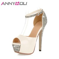 ANNYMOLI Sexy Platform High Heels Ankle Strap Extreme High Heels Shoes Bling Party Wedding Shoes Peep Toe Bridal Pumps White