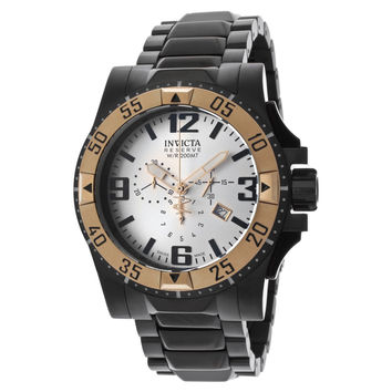 Invicta 14038 Men's Excursion Reserve Rose Gold Bezel Silver Dial Black Steel Chronograph Dive Watch