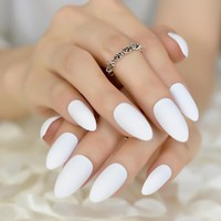 24 Amazing Nail Art Design Tips Delicate Eraser White Fake Nails Almond Shape DIY Pointed Manicure
