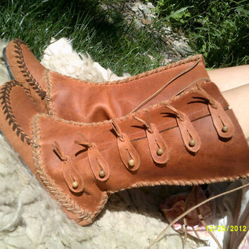 Rusty Mok boots, Leather hand made womens moccasin style calf boot with toggles,