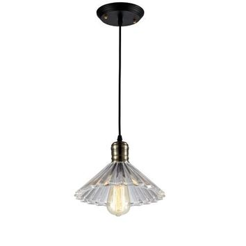 Edison Pendant Lighting Hanging Industrial Vintage Style ribbed Glass Fixture brass finish (ED275P)