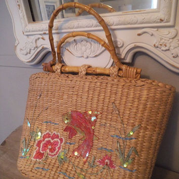 Vintage Cappelli Coy Fish and Floral straw bag ~ Bamboo Handles ~ Handbag