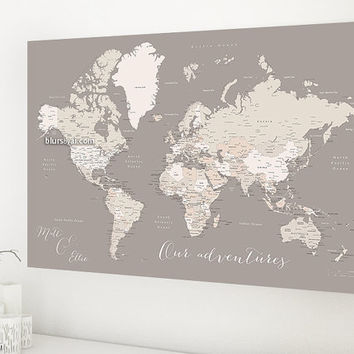 Shop pinboard map on wanelo custom quote world map canvas print world map with cities world map canvas gumiabroncs Gallery