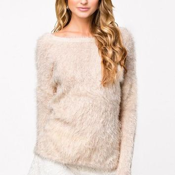Beige Plain Cut Out Faux Fur Loose Pullover Sweater