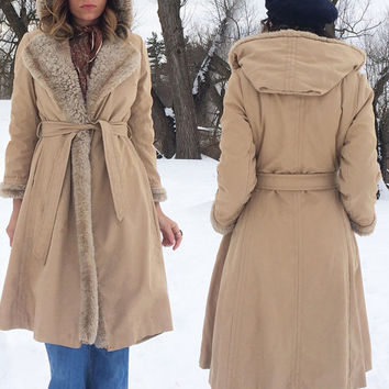 Vintage 1960's Tan HOODED Belted Faux Fur Warm Wrap Winter Tent Swing Trench Coat ||  Size Small Medium