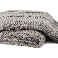 One Kings Lane - Fireside Style - Hand-Knit Braided Throw, Gray