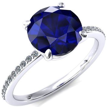 Flora Round Blue Sapphire 4 Prong 1/2 Bead Eternity Diamond Accent Engagement Ring