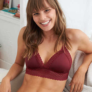 Aerie Shine Lace Bralette, Powder Sky