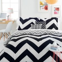 Chevron Black 4 Piece Twin Comforter Set | macys.com