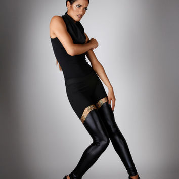 Black & Gold Leggings in Stretch Cotton and Leather-Look Spandex, Futuristic Fashion, Glam Rock Clothing, by LENA QUIST