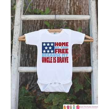 4th of July Outfit - Military Uncle Onepiece or Tshirt - Fourth of July Shirt for Baby, Youth, Toddler - Uncle Is Brave Onepiece or Shirt
