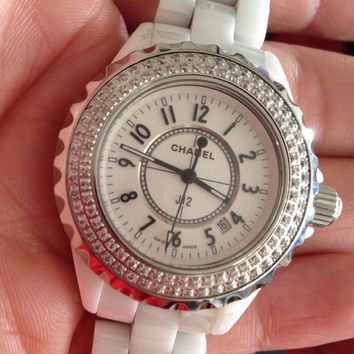 Chanel J12 White Ceramic Watch With Diamond Ladies