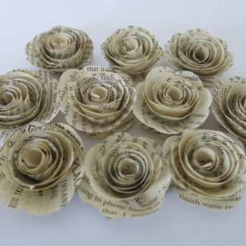 """Book page roses, set of 10 paper flowers, Recycled Classic Novel, 1.5"""" blooms, Rustic wedding decorations, Fun library decor, librarian gift"""