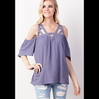 Navy Cold Shoulder Woven Top