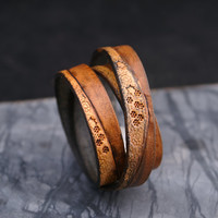 "BROWN Star Struck TOOLED 10mm Flat Leather Strap / Eco Friendly Leather Cord 10x2. Qty: 16"" straps"