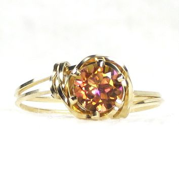 Natural Twilight Orange Mystic Topaz Gemstone Ring 14K Rolled Gold Jewelry Any Size