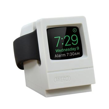 Apple Watch Stand, Modeled After Retro iMac WERO iWatch Charging Dock Station for Apple Watch Series 3/ 2/1 ,38mm, 42mm Case [Nightstand Mode and Cable Management] (Scratch-Free Silicone)(Retro White)