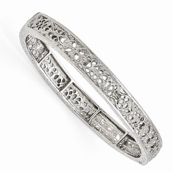Silver-tone Downton Abbey Filigree Stretch Bracelet