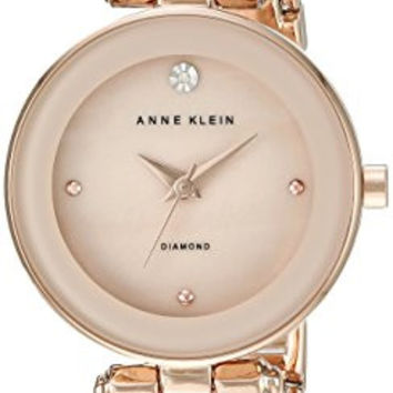 Anne Klein Women's AK/1980BMRG Diamond-Accented Dial Blush Pink and Rose Gold-Tone Bangle Watch