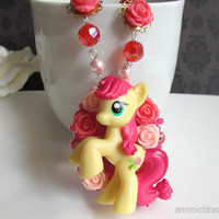 Full of Roses Roseluck My Little Pony Pendant Red Faceted glass beads and swarovski pearls Kawaii necklace. Sweet Lolita Style Harajuku Love