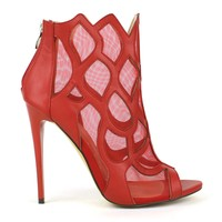 Fahrenheit Esther-11 Mesh Lined Flame Booties in Red @ ippolitan.com