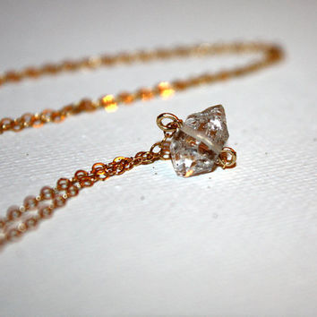 scutula - Herkimer diamond necklace by lilla stjarna - 14k gold - gifts under 50 - April birthstone - organic raw gemstone jewelry, quartz