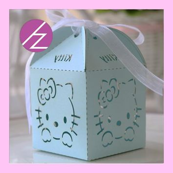 European Customized loverly hello kitty baby born Laser Cut wedding candy box Delicate chocolate favors baby shower gift box