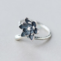 Jewelry Gift New Arrival Shiny 925 Stylish Strong Character Floral Simple Design Ring [10444668436]