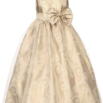 Metallic Gold Paisley Jacquard Girls Dress with Organza Overlay 2T-12