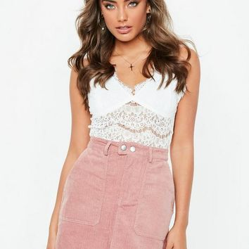 Missguided - Pink Button Through Cord Mini Skirt