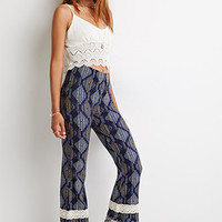 Striped Diamond Print Flared Pants