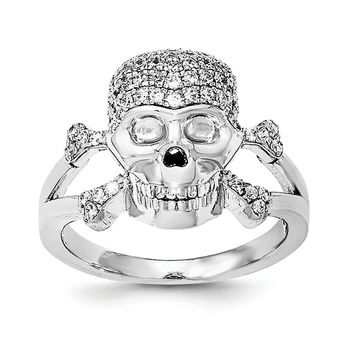 925 Sterling Silver Rhodium-plated and Cubic Zirconia Skull Ring