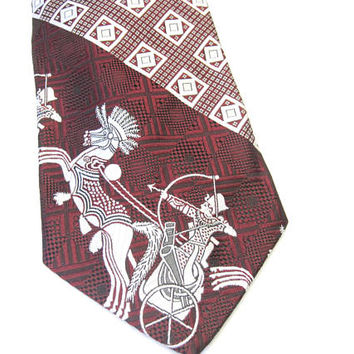 Maroon Silver Necktie Wide Tie Egyptian Chariot Pharaoh Horse Satel's By Damon